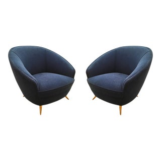 Round Mid-Century Armchairs by ISA - A Pair