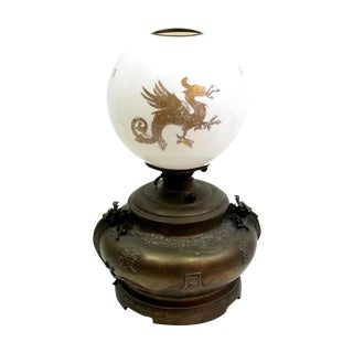 1870s Dragon Milk Glass & Bronze Lamp