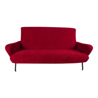 Red Modern Sculptural Italian Sofa