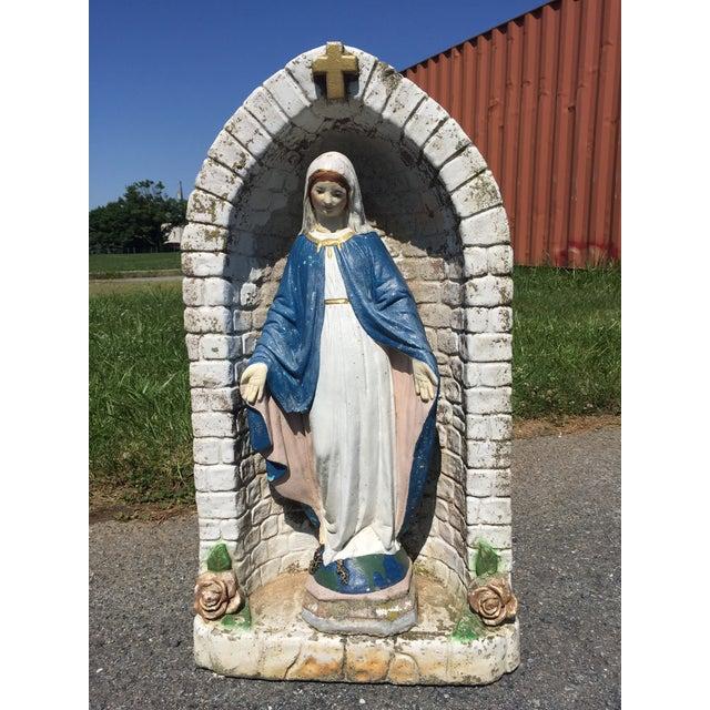 Vintage Concrete Virgin Mary Garden Statue - Image 2 of 11