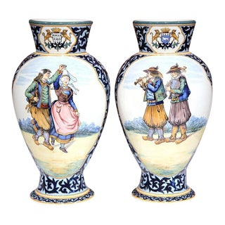 French Hand-Painted Vases - A Pair