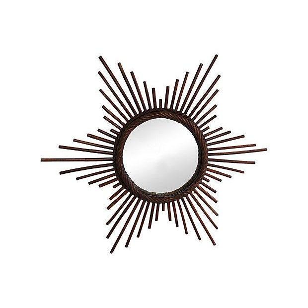 Vintage French Rattan Starburst Wall Mirror - Image 2 of 2