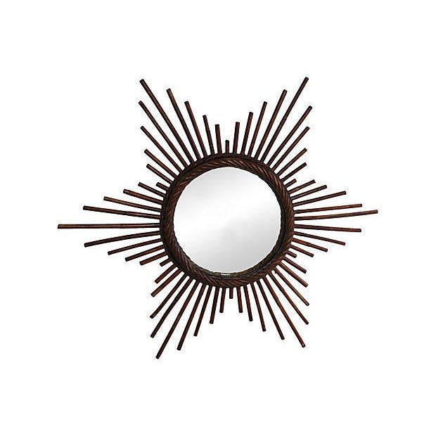 Image of Vintage French Rattan Starburst Wall Mirror