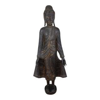 Antique 19th Century Burmese Mandalay Gilt Wood Buddah