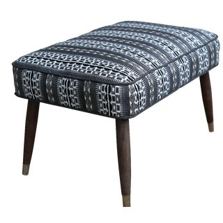Mid-Century Black and White Ottoman