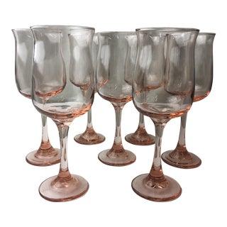 Pink Tall Stemmed Glasses - Set of 7