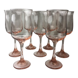 Pink Tall Stemmed Glasses - Set of 7