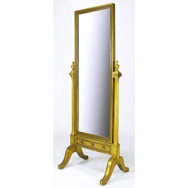 Gilt Wood Neoclassical Full Length Cheval Floor Mirror - Image 2 of 8