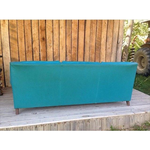 Image of Mid-Century Modern Turquoise Sofa