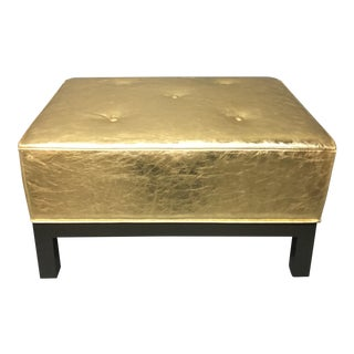 Hollywood Glam Metallic Leather Ottoman/Pouf