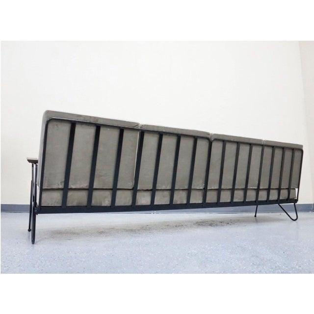 Modern Gray Velvet Sofa, Lounge & Ottoman - Set of 3 - Image 6 of 7