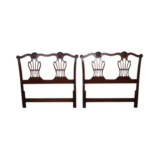 White Furniture Company Solid Mahogany Shell Carved Twin Headboards - A Pair