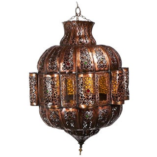 Moroccan Brown Copper Chandelier With Multi-Color Glass
