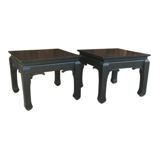 Black Chinoiserie Side Tables - A Pair