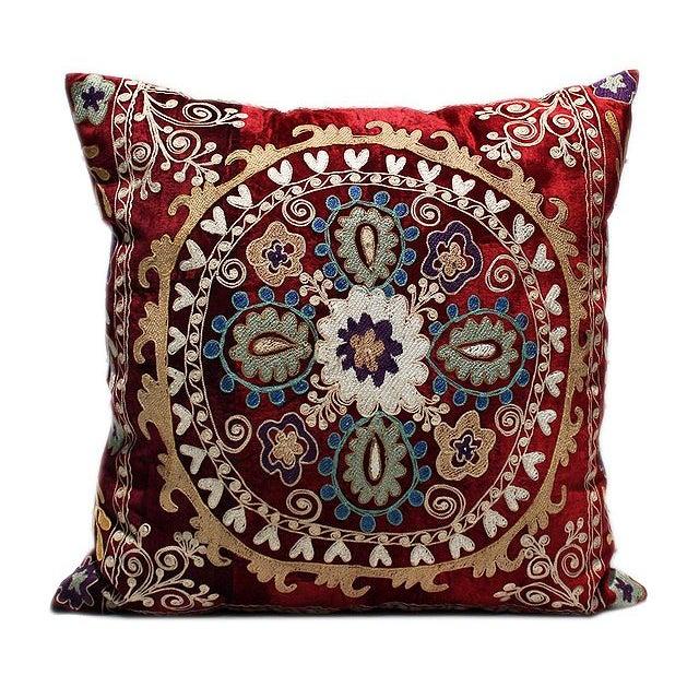 Vintage Velvet Bohemian Pillow With Silk Thread - Image 1 of 1