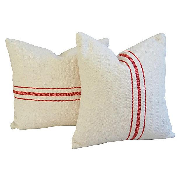 Custom French Red Striped Textile Pillows - A Pair - Image 3 of 6