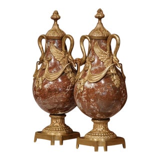 19th Century French Red Marble & Bronze Cassolettes - A Pair