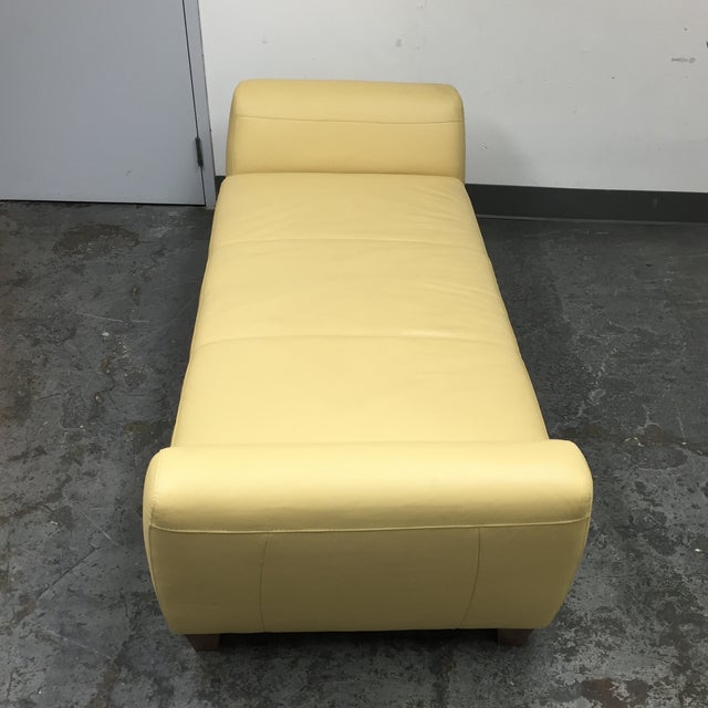 Contemporary Yellow Leather Chaise with Pillows - Image 10 of 11