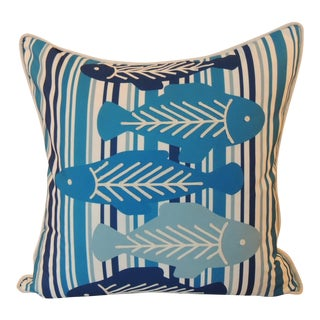 Blue and White Nautical Decorative Pillow