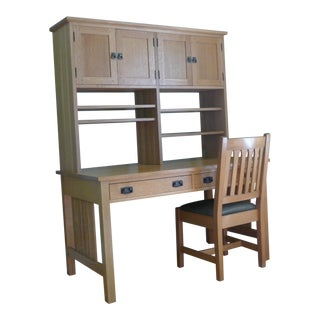 Stickley Mission Oak Spindle Computer Desk With Hutch & Chair - Set of 3