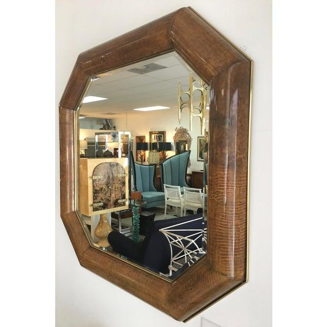 Mid-Century Goatskin & Brass Frame Mirror - Image 4 of 5