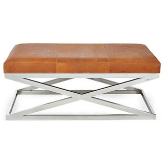 Taylor Burke Leather and Chrome Bench