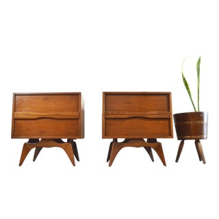 Mid-Century Wood Nightstands - A Pair