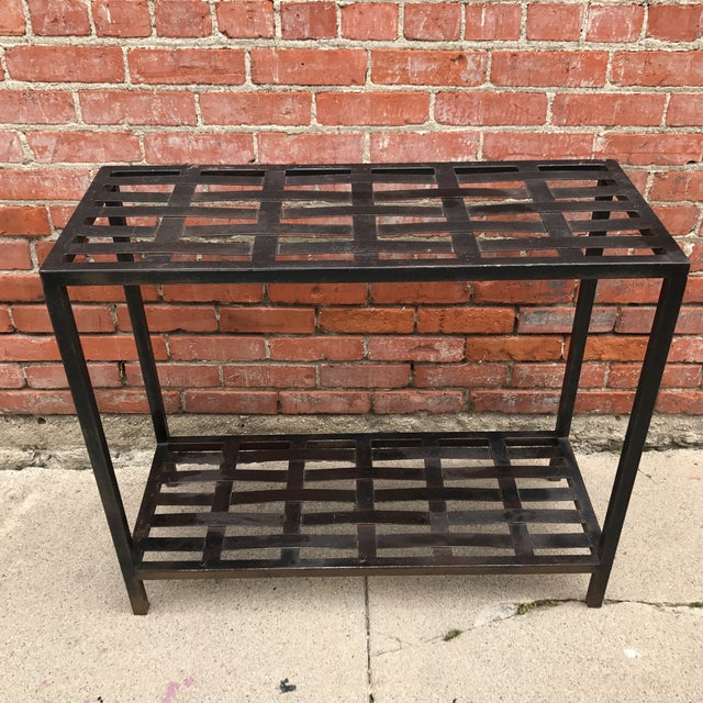Image of Woven Metal Console Table