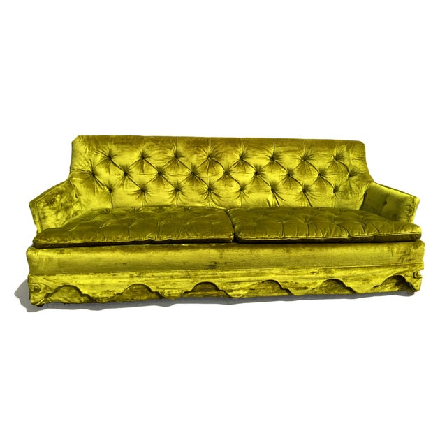 Chartreuse Velvet Tufted Sofa - Image 1 of 3