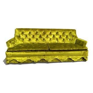 Chartreuse Velvet Tufted Sofa