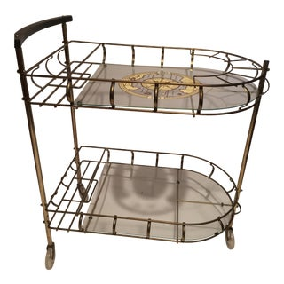 Mid-Century Brass Bar Cart with Matching Glasses - Set of 6