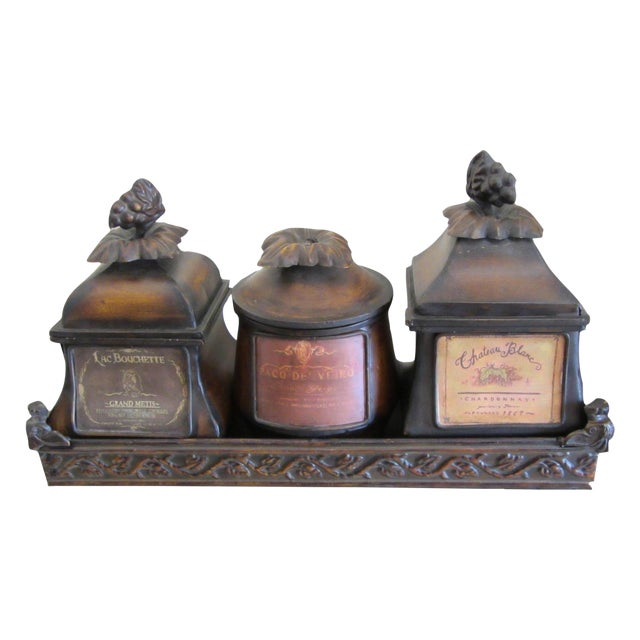 Decorative French Metal Tray & 3 Canisters - Image 1 of 9