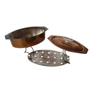 1970s Modernist Copper Fish Pan Poacher Switzerland