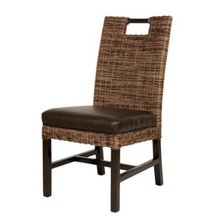 Wicker & Leather Dining Chair
