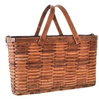 Antique Woven Apple Gathering Basket