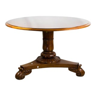 Round Pedestal French Walnut Dining Table by Henredon