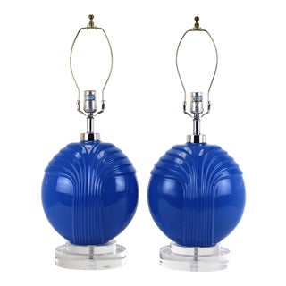 1960's Blue Porcelain Table Lamps- A Pair