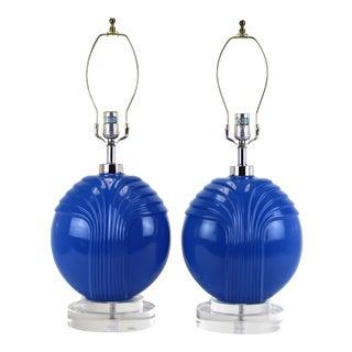 1960's Blue Porcelain Table Lamps- A Pair