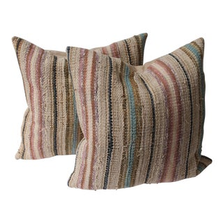 19th Century Country Rag Rug Pillows or Pair