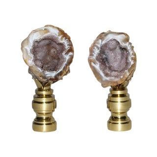Petite Amethyst Geode Druzy Finials - Pair