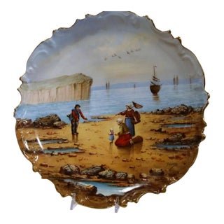19th Century French Fishing Scene Porcelain Plates - A Pair