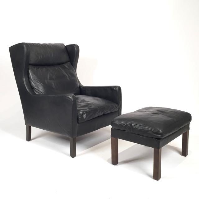 Vintage Danish Black Leather High Back Chair & Ottoman - Image 5 of 5