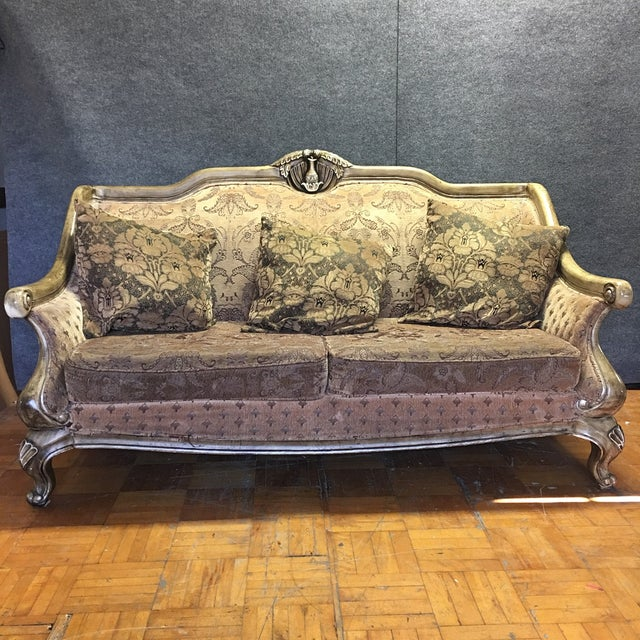 Image of Carved Wooden Frame Sofa