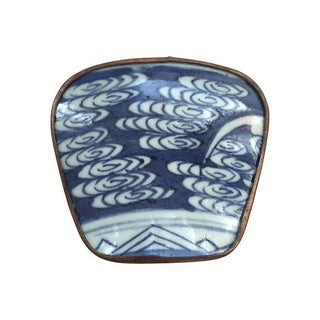 Asian Blue & White Porcelain Silver Metal Trinket Box