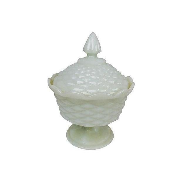 Milk Glass Pedestal Candy Dish - Image 2 of 3