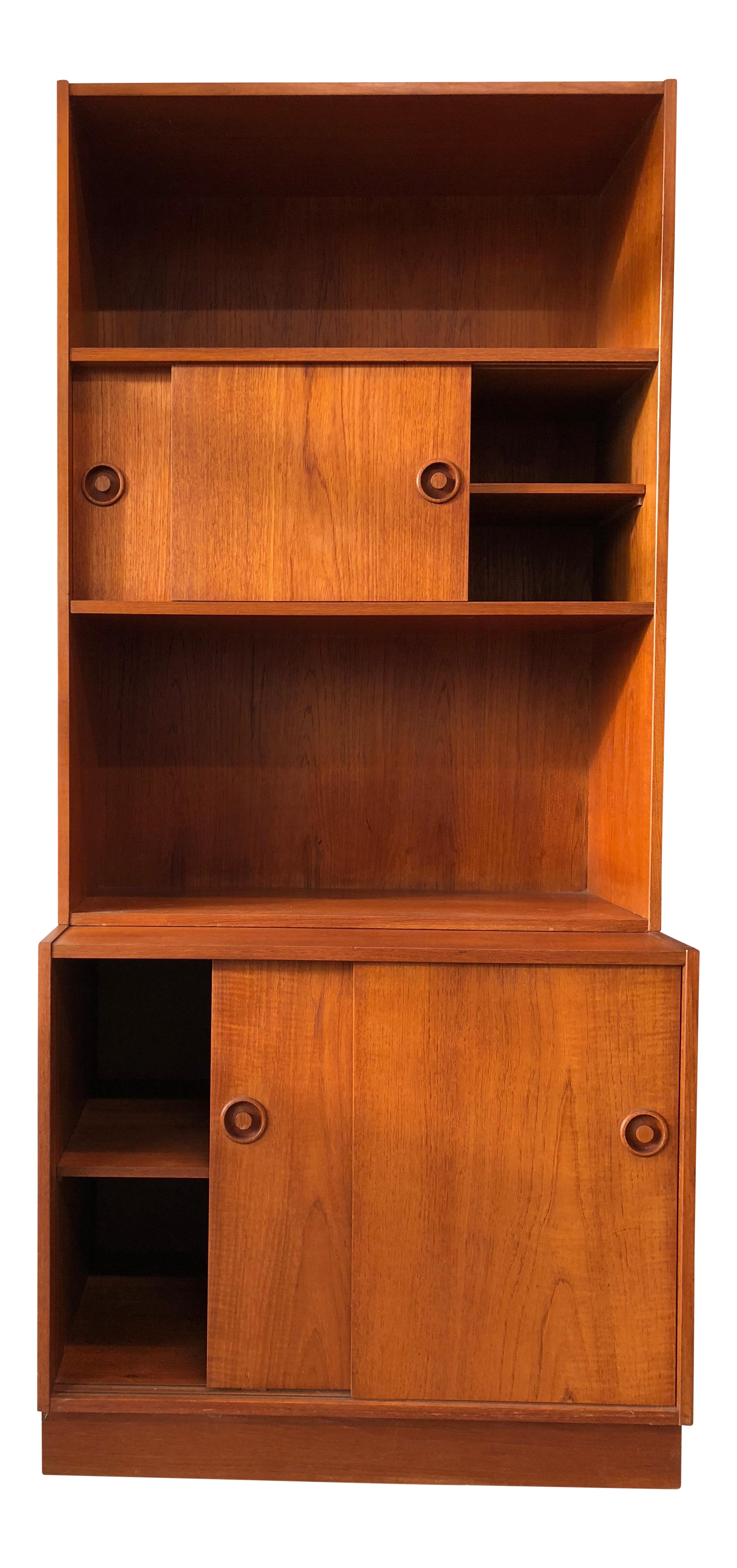 midcentury modern danish teak cabinets and book cases set of 4