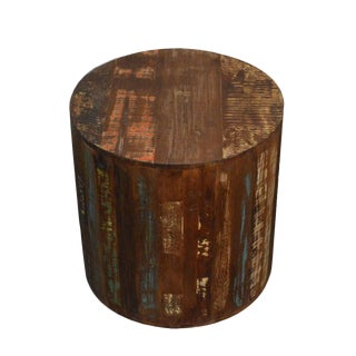 Rustic Reclaimed Wood Stool Side Table