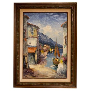 Vintage Painting - Boats in Harbor