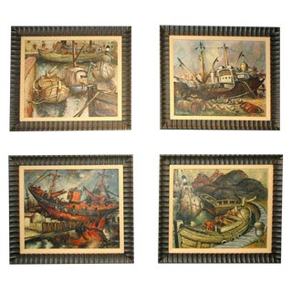 Set of Four WPA Style Ship Paintings