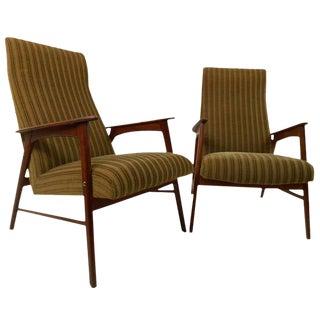 Scandinavian Modern Highback Armchairs - a Pair